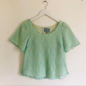 Mint Flutter Sleeve Lacy Top